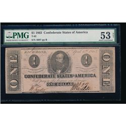 1863 $1 Confederate States of America Note PMG 53 NET