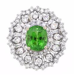 18KT White Gold 3.50ct GIA Cert Tsavorite and Diamond Ring