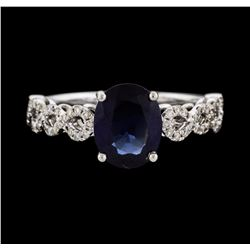 14KT White Gold 2.06ct Blue Sapphire and Diamond Ring