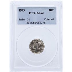1943 Mercury Dime PCGS MS66