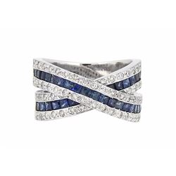 14KT White Gold 1.75ctw Sapphire and Diamond Ring