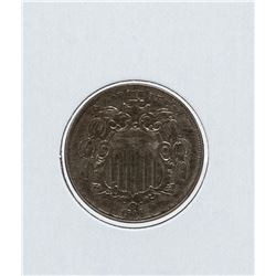 1866 Shield Nickel Double Stamp Date
