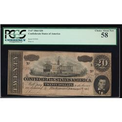 1864 $10 Confederate States of America Note PCGS 58