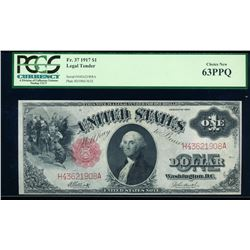 1917 $1 Legal Tender Note PCGS 63PPQ