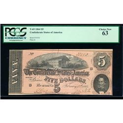 1864 $5 Confederate Sates of America Note PCGS 63
