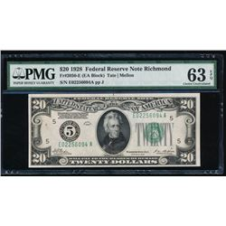 1928 $20 Richmond Federal Reserve Note PMG 63EPQ