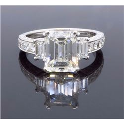 18KT White Gold 3.65ctw EGL Cert Emerald Cut Diamond Ring