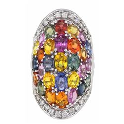 14KT White Gold 14.12ctw Multi Color Sapphire and Diamond Ring