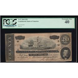 1864 $20 Confederate States of America Note PCGS 40