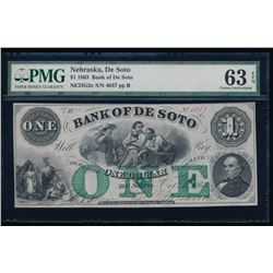1863 $1 Nebraska Obsolete Bank Note PMG 63EPQ