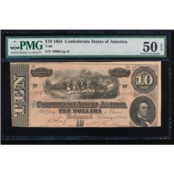 1864 $10 Confederate States of America Note PMG 50EPQ