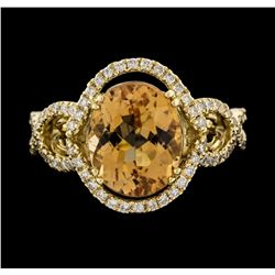 14KT Yellow Gold 4.66ct Golden Tourmaline and Diamond Ring