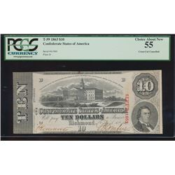 1863 $10 Confederate States of America Note PCGS 55 Cross Cut Cancelled