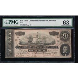 1864 $20 Confederate Sates of America Note PMG 63