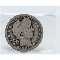 1901-O Barber Quarter Coin