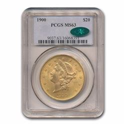 1900 $20 Liberty Head Double Eagle Gold Coin PCGS MS63 CAC