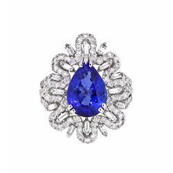 18KT White Gold 4.50ct Tanzanite and Diamond Ring