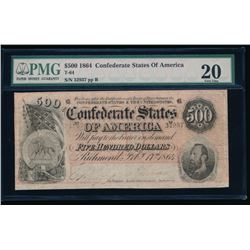1864 $500 Confederate States of America Note PMG 20