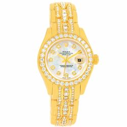 Rolex Pearlmaster 18KT Yellow Gold Diamond Ladies Wristwatch