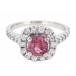 18K White Gold 1.14ct Padparadscha Sapphire and Diamond Ring