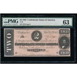 1864 $2 Confederate States of America Note PMG 63
