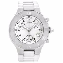 Cartier Must 21 Chronoscaph White Rubber Mens Wristwatch