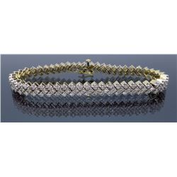 14KT Two Tone Gold 3.80ctw Diamond Bracelet