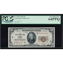1929 $20 Atlanta Federal Reserve Bank Note PCGS 64PPQ