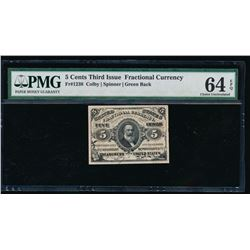 5 Cent Third Issue Fractional Currency Note PMG 64EPQ