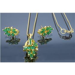 14KT Yellow Gold Emerald and Diamond Earrings and Pendant with Chain