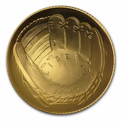 2014-W $5 Baseball Hall of Fame Gold Coin