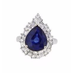 18KT White Gold 6.19ct Sapphire and Diamond Ring