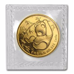 1985 China 100 Yuan Panda 1oz Sealed Gold Coin