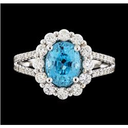 14KT White Gold 3.56ct Blue Zircon and Diamond Ring