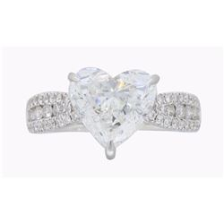 14KT White Gold 2.51ct GIA Cert Heart Shaped Diamond Ring
