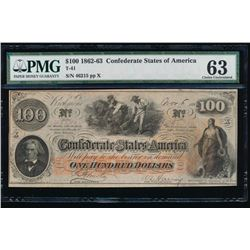 1862-63 $100 Confederate States of America Note PMG 63
