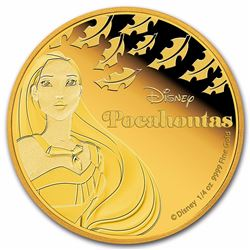 2016 $25 Disney Pocahontas Proof 1/4 oz Niue Gold Coin
