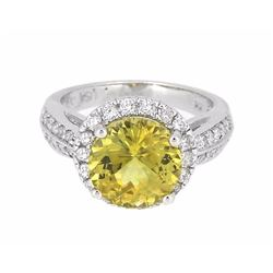 14KT White Gold 3.45ct GIA Cert Chrysoberyl and Diamond Ring