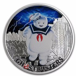 2017 $1 Ghostbusters Stay Puff Tuvalu 1 oz Silver Coin