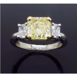 Platinum 2.08ct GIA Cert Fancy Yellow Diamond Ring