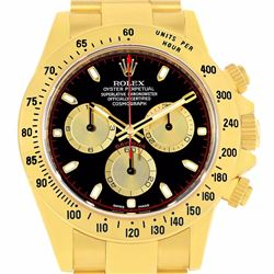 Rolex Cosmograph Daytona 18K Yellow Gold Black Dial Mens Wristwatch