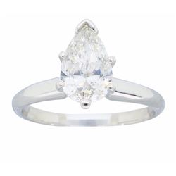 Platinum 1.06ct Pear Shaped Diamond Ring