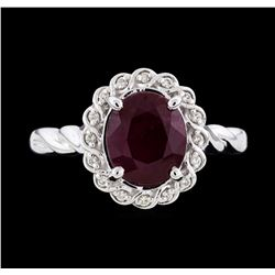 14KT White Gold 3.00ct Ruby and Diamond Ring