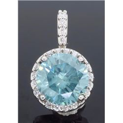 14KT White Gold 1.50ct Bluish Greenish GIA Cert Diamond Pendant