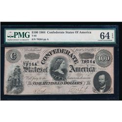 1864 $100 Confederate States of America Note PMG 64EPQ