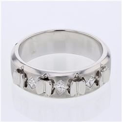 14KT White Gold 0.29ctw Diamond Mens Ring