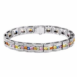 14KT White Gold 10.86ctw Multi Color Sapphire and Diamond Bracelet
