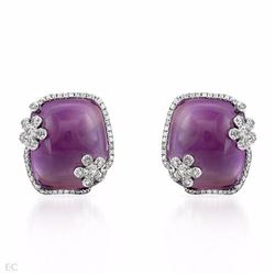 14KT White Gold 43.39ctw Amethyst and Diamond Earrings