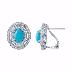 14KT White Gold 2.09ctw Turquoise and Diamond Earrings