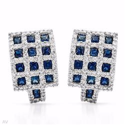 18KT White Gold 2.45ctw Blue Sapphire and Diamond Earrings